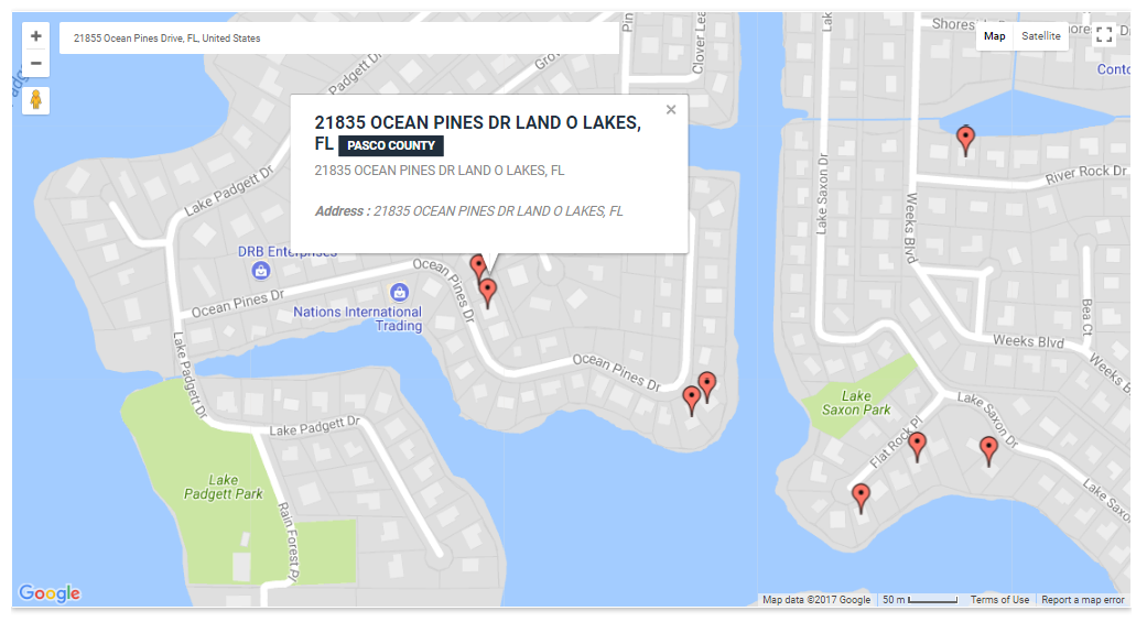 Land O Lakes Florida Map.21855 Ocean Pines Drive Land O Lakes Sinkhole Interactive