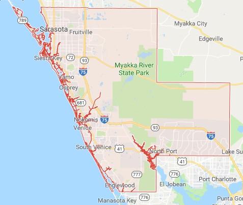 Sarasota County FL Interactive Sinkhole Properties Map