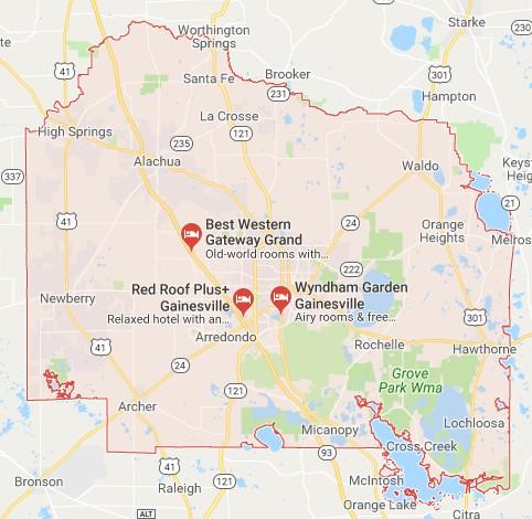 Florida Hotel Map.Alachua County Fl Sinkhole Map