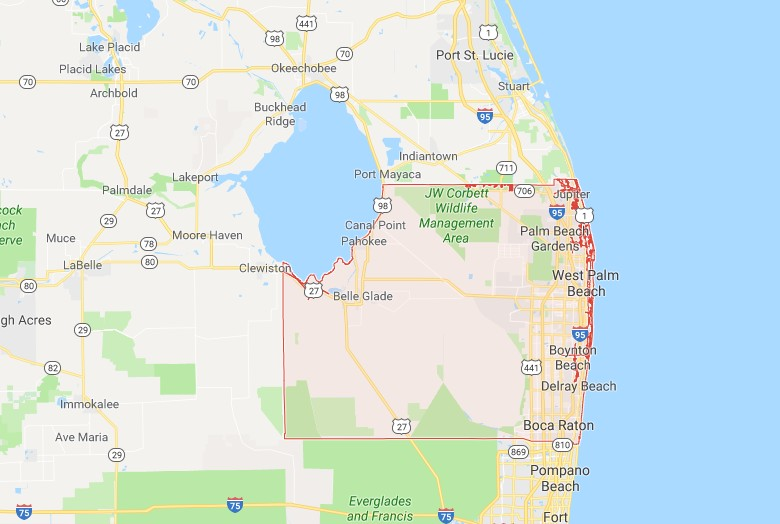 Map Of Florida Showing Boca Raton.Palm Beach County Fl Sinkhole Map