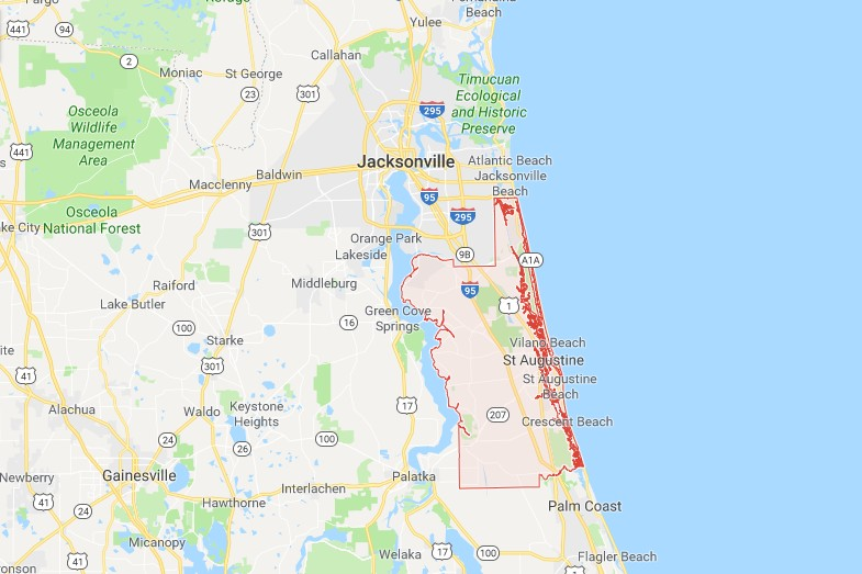 Counties Of Florida Map.St Johns County Fl Sinkhole Map