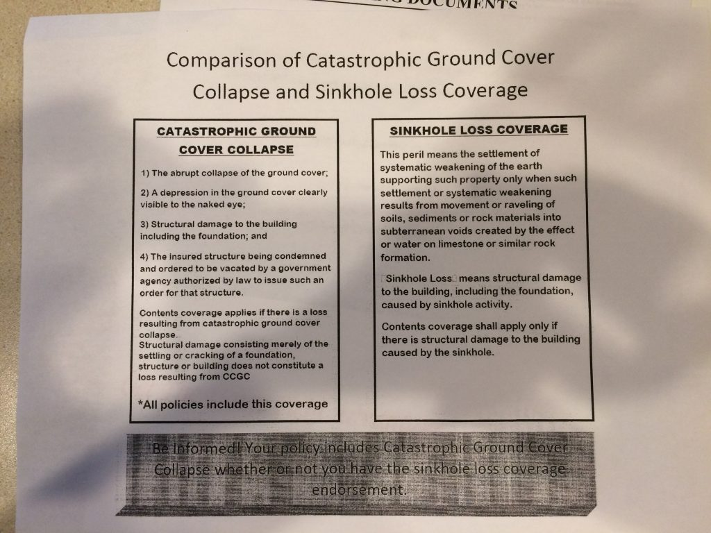 catastrophic ground collapse coverage vs sinkhole loss coverage