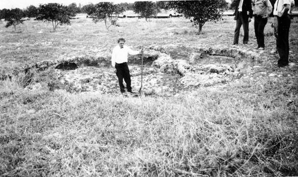 PHOTO: State Archives of Florida /Cave-in or sinkhole no. 11 in the Cosme-Odessa area by Giles, R. V. 1930