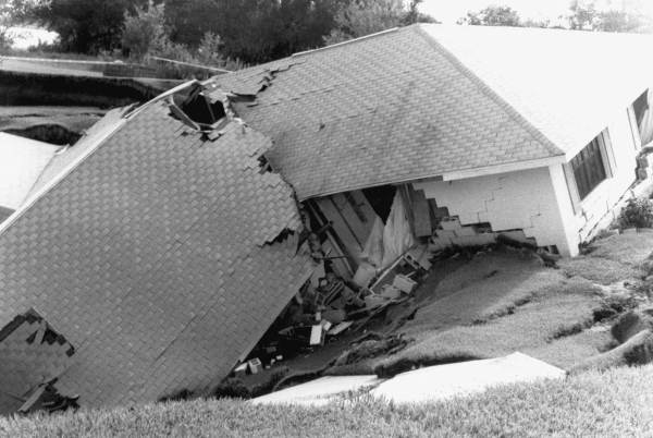 PHOTO: State Archives of Florida /Home swallowed by sinkhole Frostproof, Florida 1991