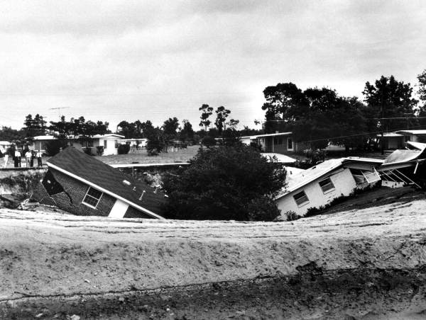 PHOTO: State Archives of Florida /Two homes destroyed by a sinkhole Ocala, Florida